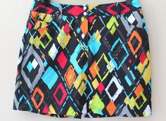 Slazenger Abstract Print SKORT sz 4 Golf/Tennis Skirt/Shorts Black Multi Color #Slazenger #Shorts