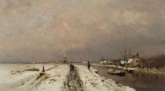 Louis Apol – Besneeuwd landschap met wandelaars langs een vaart
