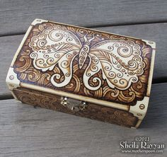 Steampunk Butterfly Box - pyrography woodburning.