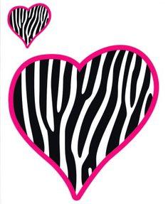 Girly Pink Zebra Heart Car Decal Sticker