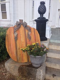 Barn wood pumpkin, fall porch