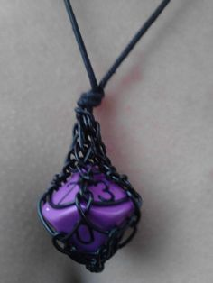 captured Purple D10 Necklace Dungeons and Dragons by NoirPower, $8.00