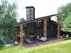 Project Of The Private House - Picture gallery Modern House Plans, Modern House Design, Casas Containers, House Goals, Exterior Design, Roof Design, Future House, Modern Architecture, Modern Farmhouse
