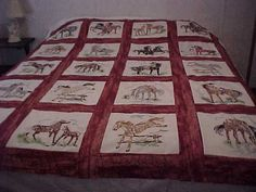 Embroider horses quilt.