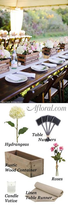Fill rustic wood boxes with your favorite faux flowers for your DIY wedding centerpieces on a budget.  Hydrangeas are a great way to fill a floral arrangement.  Push stems into floral foam and hide in a wood container of your choice.  So simple and can be reused again and again after the wedding.  Afloral.com has everything you need to recreate this look!