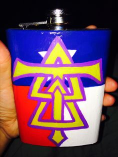 Delta tau delta flask tfm frat hand painted