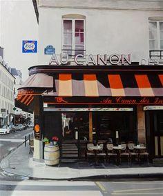 """Daily Paintworks - """"Cafe Au Canon des Invalides"""" - Original Fine Art for Sale - © Andre Beaulieu"""