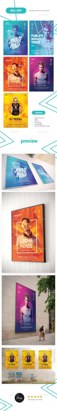DJ Flyer Bundle — Photoshop PSD #electro #dj party • Download ➝ https://graphicriver.net/item/dj-flyer-bundle/20003223?ref=pxcr