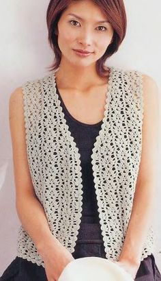 Fabulous Crochet a Little Black Crochet Dress Ideas. Georgeous Crochet a Little Black Crochet Dress Ideas. Gilet Crochet, Crochet Vest Pattern, Crochet Shirt, Crochet Cardigan, Crochet Top, Free Pattern, Crochet Vests, Crochet Patterns, Black Crochet Dress