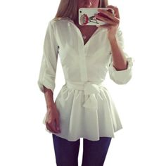 Plus Size S-3XL Spring Autumn Blusas Women Long Sleeve Lapel Belted Blouse Dress Female Casual Solid Slim Tunic Long Top Shirts Like and share! Visit us