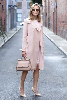spring work outfits - 30 Spring Work Outfits To Try Right Now: Fashion Blogger 'Memorandum' wearing a blush trench coat, a white bodycon dress, blush pointy toe heels, mirror sunglasses and a light pink shoulder bag