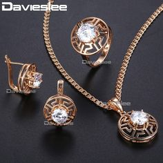 078ec68ab Trendsmax Clear Crystal Cubic Zirconia Jewelry Set For Women 585 Rose Gold  Earrings Ring Pendant Necklace Womens Jewelry Clear Crystal Cubic Zirconia  Set ...