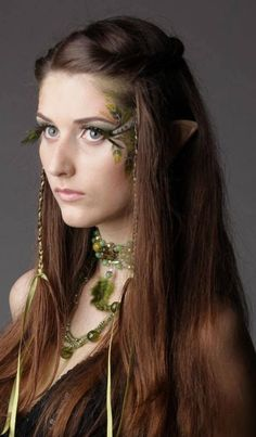 *Flails* Someone dress Jayla as an elf for Halloween and put this makeup on her! Heather, are you reading this? You too, Rae. Elven Makeup, Beauty Makeup, Hair Beauty, Drugstore Makeup, Fantasy Make Up, Elfa, Fantasias Halloween, Shooting Photo, Fairy Makeup