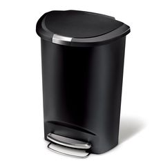 simplehuman 50 Liter / 13 Gallon Semi-Round Kitchen Step Trash Can, Black Plastic With Secure Slide Lock - Hanging With Hollywood Wil Küchen Design, Tool Design, Kitchen Trash Cans, Room For Improvement, Round Kitchen, Target, Thing 1, Garbage Can, Trash Bag