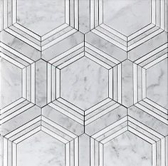Carrara Bianco marble is an exclusive Italian natural stone marble collection from The Builder Depot. Bianco Carrara is a classic Italian marble with over two hundred matching products, mosaics and trims. Hexagon Tile Bathroom, Hexagon Mosaic Tile, Marble Mosaic, Mosaic Wall, Mosaic Glass, Art Deco Bathroom, Master Bathroom, Bathroom Ideas, Bath Ideas