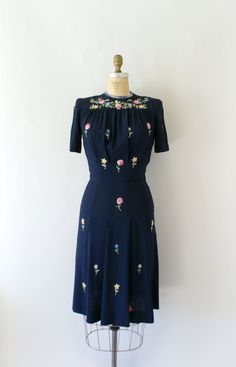 39c190fdc4f9 1940s Vintage Dress Bohemian Floral Embroidered by Sweetbeefinds 1940s  Vintage Dresses
