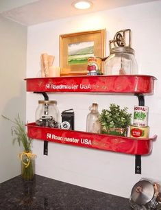 Vintage radio flyer wagon cut in half and turned into shelves! - Wagon - Ideas of Wagon - Vintage radio flyer wagon cut in half and turned into shelves! Furniture Makeover, Diy Furniture, Painted Furniture, Bedroom Furniture, Rustic Decor, Farmhouse Decor, Rustic Style, Radio Flyer Wagons, Little Red Wagon