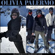 Olivia Palermo in black quilted jacket and mirrored sunglasses skiing in France