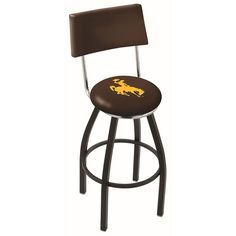 "Wyoming Cowboys 30"" Black Wrinkle Swivel Bar Stool with Back"