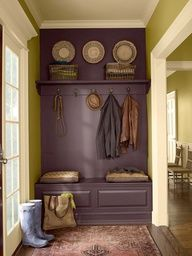 Entry way/ back door? (mute the green color) Paint a bench and shelf the same color as the wall to give the appearance of a built in. Using this idea for a small space Im converting to a linen closet in the bathroom.  Several other cute ideas on this page.....@Leslie Lippi Lippi Lippi Lippi Riemen matlock we could do that on dining room wall to look like huge built in