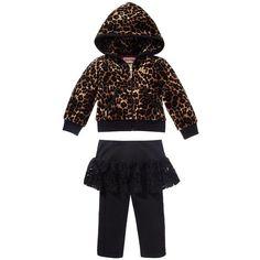 Leopard Velour Hoodie and Skirted Legging Set ($98) via Polyvore