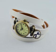 Armbanduhren - Echtleder Wickelarmbanduhr in weiß mit Schleife - ein Designerstück von mias-dekostube bei DaWanda