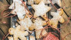 Christmas gingerbread star and angel shaped cookies with sugar powder Christmas Gingerbread, Gingerbread Cookies, Shaped Cookie, Powder, Angel, Sugar, Shapes, Desserts, Food