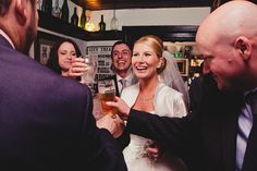 A documentary photograph of a bride laughing during the cocktail hour at her laid back retro wedding in Boston, Massachusetts Gina Brocker Photography Boston Massachusetts, Documentary, Laughing, Cocktail, Wedding Photography, Bride, Retro, Couple Photos, Beautiful