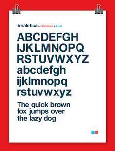 Jeu typographique qui permet de constater que l'Arial se distingue assez peu de son modèle de départ, l'Helvetica.