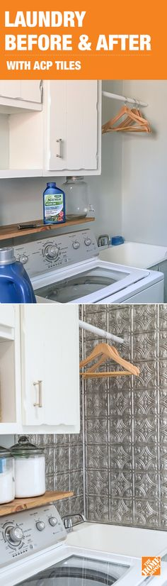 Laundry rooms can sometimes be bare and basic. But with some easy peel-and-stick ACP decorative backsplash tile, you can add elegant style to yours. See how this laundry room was updated with vintage-inspired square tiles in Crosshatch Silver, made to look like classic tin panels. Click through to get the how-to on our blog!
