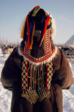 nenets woman's traditional hat with decorative beads & weights | yamal | siberia | russia | foto: bryan & cherry alexander
