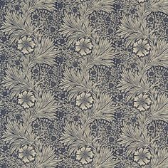 Marigold fabric, in colour Indigo / Linen, from Morris & Co's The Craftsman collection. To celebrate the eminent Morris & Co. design archive and one of the William Morris, Cushion Fabric, Linen Fabric, Craftsman Fabric, Motifs Art Nouveau, Art Chinois, Art Japonais, Made To Measure Curtains, Thing 1