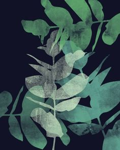 Buy Prints of Eucalyptus, a Painting on  by Allison Holdridge from United States. It portrays: Nature, relevant to: plant, blue, texture, collage, eucalyptus, fabric, green Study of the negative space created by overlapping eucalyptus branches.
