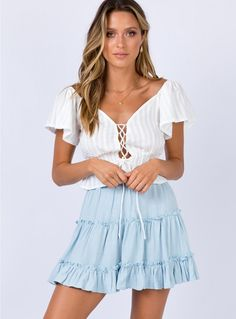 Shop Princess Polly online for the hottest Mini Skirt styles that are trending right now! Buy now, pay later with Afterpay. Blue Skirt Outfits, Light Blue Skirts, Pop Fashion, Fashion Outfits, Mini Skirt Style, Princess Polly, Baby Blue, Fit And Flare, Dress To Impress