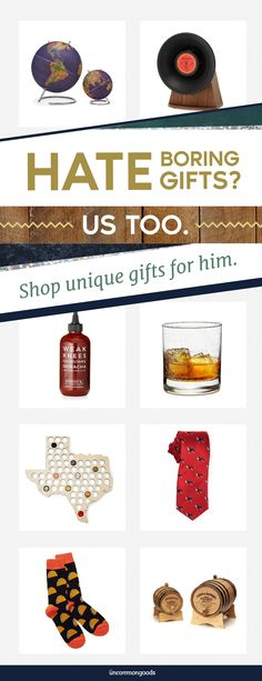 Discover unique gifts that any guy in your life will love. Find perfect gifts for his wedding, birthday, anniversary, Christmas, or even just because!