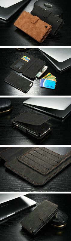 Vintage Leather Multi Function Wallet Card Pocket Zipper Flip Case Cover For Apple iPhone 6 Plus 6s Plus 5.5 Sale - Banggood.com