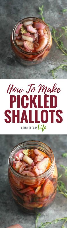 Learn how to make pickled shallots (and what to do with them!) Try them on carnitas, fish tacos and MORE! Vegetable Side Dishes, Vegetable Recipes, Vegetarian Recipes, Healthy Recipes, Healthy Eats, Vegan Vegetarian, Yummy Recipes, Pickled Shallots, Pickled Red Onions