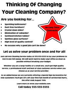 A cleaning business flyer focused on the commercial market.