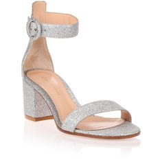 Gianvito Rossi Versilia 60 Silver Glitter Sandal (2 285 PLN) ❤ liked on Polyvore featuring shoes, sandals, silver, glitter sandals, block heel ankle strap sandals, glitter shoes, silver block heel sandals and ankle strap mid heel sandals