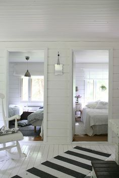 white rooms in a beach house. Reminds me of the bedrooms in my Grandparents old house in Wildwood, NJ. Home Interior, Interior Design, Deco Marine, White Cottage, White Rooms, Scandinavian Home, My Dream Home, Beach House, New Homes