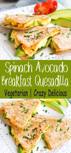 Kick off your day with a Spinach Avocado Breakfast Quesadilla. High on protein a… Kick off your day with a Spinach Avocado Breakfast Quesadilla. High on protein and filled with flavor! 238 calories and 4 Weight Watchers SP Tasty Vegetarian Recipes, Good Healthy Recipes, Paleo, Healthy Avocado Recipes, Healthy Recepies, Vegan Meals, Healthy Recipes With Spinach, Healthy Delicious Recipes, Vegetarian Appetizers