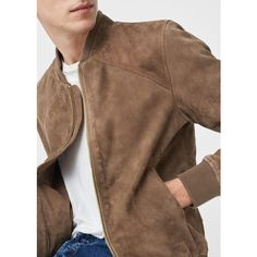 MANGO MAN Suede bomber jacket ($250) ❤ liked on Polyvore featuring men's fashion, men's clothing, men's outerwear, men's jackets, mens fur lined bomber jacket, mens suede bomber jacket, mens suede jacket, mens suede leather jacket and mens long jacket