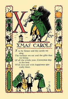 X For XMas Carols Print Canvas Giclee >>> You can find more details by visiting the image link. Rhymes For Kids, Art For Kids, Phonics Rhymes, Xmas Carols, Rhyming Poems, Pomes, Retro Images, Alice, Canvas Prints