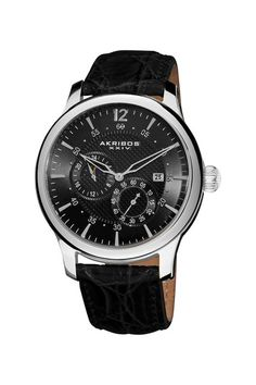 Akribos  Men's Stainless Steel Automatic Multifunction Strap Watch