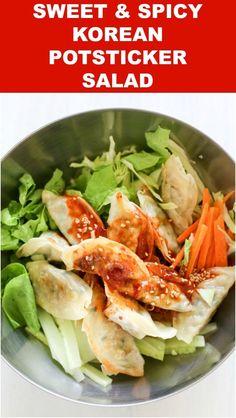 How to Make Sweet and Spicy Korean Potsticker Salad (Bibim Mandu) | MyKoreanKitchen.com via @mykoreankitchen