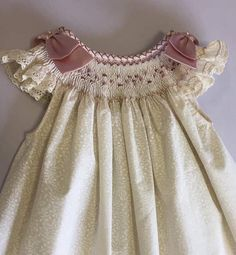 Baby pink smocked dress floral country baby dress vintage
