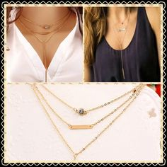 Triple Chain Gold Bar Necklace Elegant and beautiful. Adds the perfect touch to any outfit! Material: Zinc alloy Jewelry Necklaces
