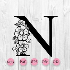 Flower Alphabet, Flower Letters, Flower Svg, Star Flower, Cool Lettering, Hand Lettering, Forearm Tattoo Design, Floral Flowers, Clipart
