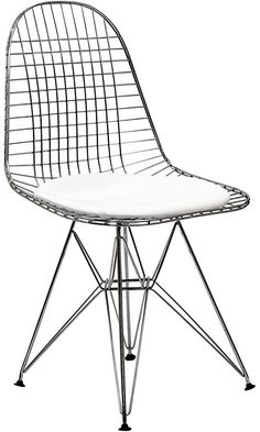LexMod Wire Tower Side Chair with White Vinyl Cushion Best Price
