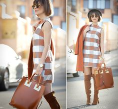 asos shift dress and sophie hulme tote bag